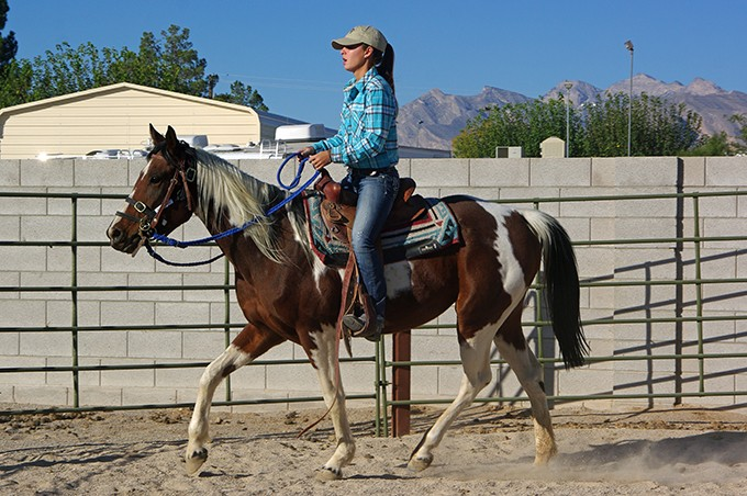 She receives her saddle assessment and some training from Katelynn Eddy